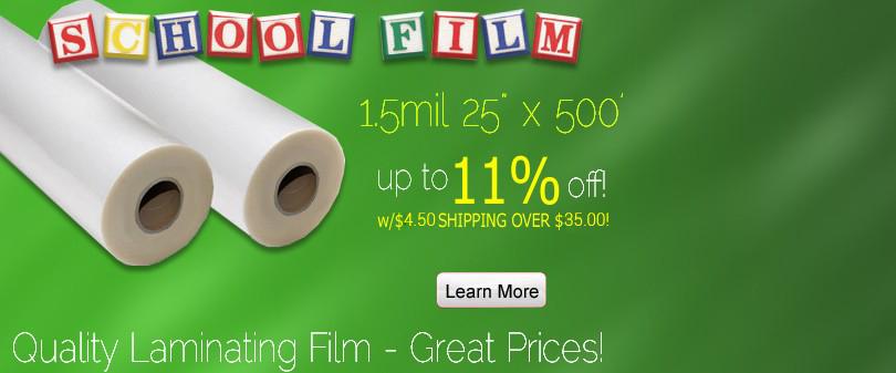 1.5 mil – 25 inch 500 feet Clear School Roll Laminating Film